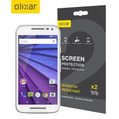 Schützen sie Ihr Moto G 3rd Gen Display mt dem 2-in-1 Pack von Olixar, dass Ihr Handy garantiert vor Kratzern und anderen Schäden schützt