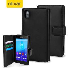 Olixar Premium echte Leren Sony Xperia Z4 Aqua Wallet Case - Zwart