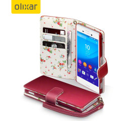 Olixar Leather-Style Sony Xperia M4 Aqua Wallet Case - Floral Red