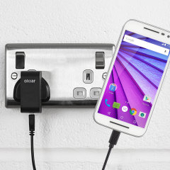 Charge your Motorola Moto G 3rd Gen quickly and conveniently with this compatible 2.4A high power charging kit. Featuring mains adapter and USB cable.