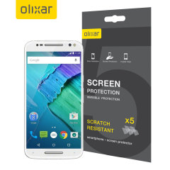 Keep your Motorola Moto X Style screen in pristine condition with this Olixar scratch-resistant screen protector 5-in-1 Pack.