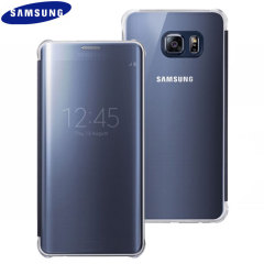 Original Samsung Galaxy S6 Edge+ Clear View Cover Case in Blau/Schwarz