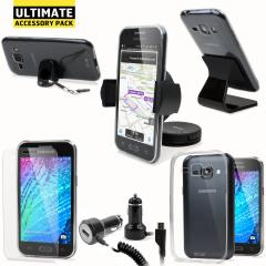 Este pack de accesorios compatibles con el Samsung Galaxy J1 es perfecto para proteger, cargar y sujetar su smartphone. Un completo pack todo en uno.