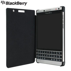 Official BlackBerry Passport Silver Edition Leather Flip Case - Black