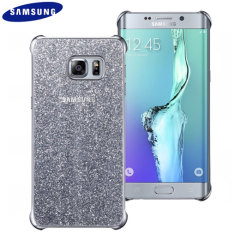 Offizielles Samsung Galaxy S6 Edge+ Glitter Cover Case Hülle in Silber