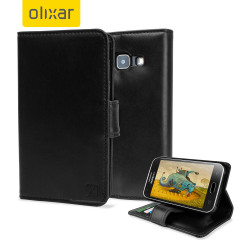 A sophisticated lightweight black genuine leather case with a magnetic fastener. The Olixar genuine leather wallet case offers perfect protection for your Samsung Galaxy J1 2015, as well as featuring slots for your cards, cash and documents.
