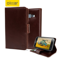 A sophisticated lightweight brown genuine leather case with a magnetic fastener. The Olixar genuine leather wallet case offers perfect protection for your Samsung Galaxy J1 2015, as well as featuring slots for your cards, cash and documents.