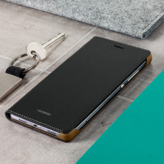 Protect your Huawei P8 Lite 2015's screen from harm and keep your phone looking stylish with this official black leather-style flip case.