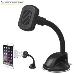 Create the perfect viewing angle for your tablet or smartphone in the car and conveniently mount quickly even with a case attached with the Scosche Magic Mount XL Window Universal Car Holder System.