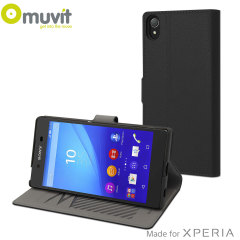 This Slim S Folio Case by Muvit in black, houses the Sony Xperia Z5 Premium within a form fitting, polycarbonate hard case and encloses it within a sophisticated leather-style cover.