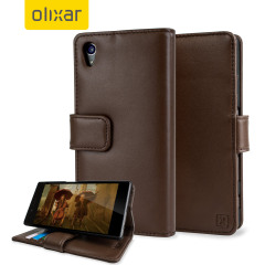 Olixar Sony Xperia Z5 Wallet Case Ledertasche in Braun