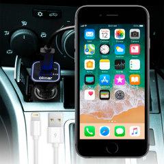 Laden Sie Ihr Lightning-Gerät unterwegs auf, mit diesem Hochleistungs 2.4A iPhone 6S Kfz-Ladegerät mit ausziehbarem Spiralkabel-Design.