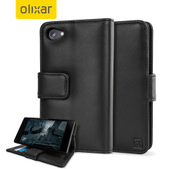 A sophisticated lightweight black genuine leather case with a magnetic fastener. The Olixar genuine leather wallet case offers perfect protection for your Sony Xperia Z5 Compact, as well as slots for your cards, cash and documents.