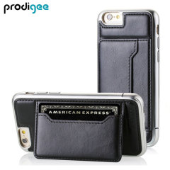 Protect your iPhone 6 with this elegant and luxurious eco-leather wallet case from Prodigee in black. This stylish wallet case stores your cards and also includes a viewing stand, perfect for watching movies with friends and family.