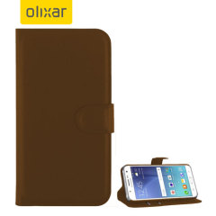 A sophisticated lightweight brown leather-style case with a magnetic fastener for ease of use. The Olixar leather-style wallet case offers perfect protection for your Samsung Galaxy J5 2015 and also includes a built-in stand.