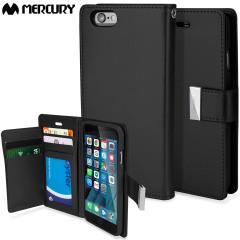 Mercury Rich Diary iPhone 6S / 6 Premium Wallet Case Tasche Schwarz