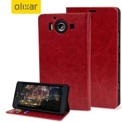 Olixar  Microsoft Lumia 950 Wallet Case Tasch im Lederstil in Rot