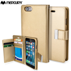 With the perfect blend of elegance, functionality and protection, this luxurious wallet case from Mercury in gold is the ideal companion for your iPhone 6S Plus / 6 Plus. Featuring 5 card slots and a document pocket you can carry more easily.