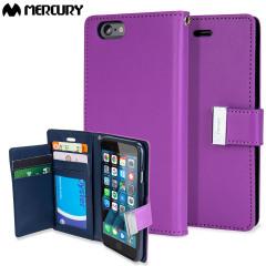 Elegante Mercury Blue Moon Tasche für das iPhone 6S Plus / 6 Plus mit integrierten Staufächern für Kreditkarten.