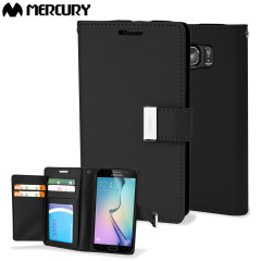 Elegante Mercury Blue Moon Tasche für das Samsung Galaxy S6 mit integrierten Staufächern für Kreditkarten.