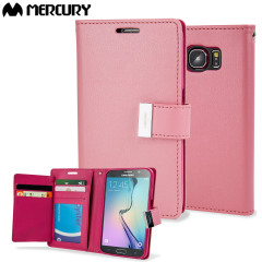 Mercury Rich Diary Samsung Galaxy S6 Premium Wallet Case - Roze