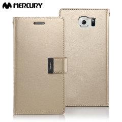 Mercury Rich Diary Samsung Galaxy S6 Premium Wallet Case - Gold