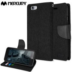 Mercury Canvas Diary iPhone 6S / 6 Wallet Case - Zwart/Zwart