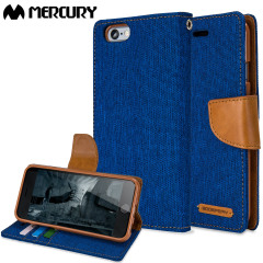 Mercury Canvas Diary iPhone 6S / 6 Wallet Case - Blue / Camel
