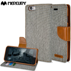 Mercury Canvas Diary iPhone 6S Plus / 6 Plus Wallet Hülle Grau/Camel