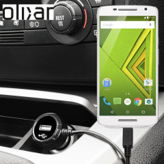 Keep your Motorola Moto X Play fully charged on the road with this Olixar high power 2.4A Car Charger, featuring extendable spiral cord design. As an added bonus, you can charge an additional USB device from the built-in USB port!