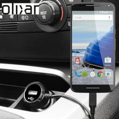 Keep your Motorola Moto X Style fully charged on the road with this Olixar high power 2.4A Car Charger, featuring extendable spiral cord design. As an added bonus, you can charge an additional USB device from the built-in USB port!