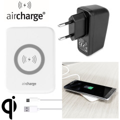 aircharge Slimline Qi Wireless Charging Pad and EU Plug - Wit