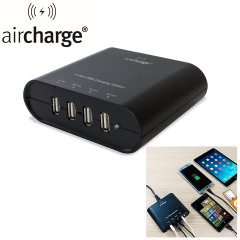 Ideal for use by your desk or bedside the aircharge includes 4 USB ports for recharging your mobile devices quickly.