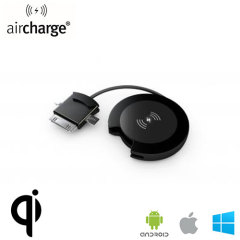 The aircharge Orb Wireless Charging receiver in black powder attaches to the Micro USB, MFi Lightning or 30-pin port of your smartphone device and to your Qi charging station for mobile phones that don't include the Qi charging feature as standard.