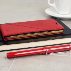 Mozo Microsoft Lumia 950 Flip Cover Tasche in Rot