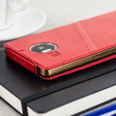 Mozo Microsoft Lumia 950 XL Genuine Leather Flip Cover - Rood