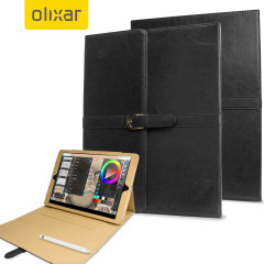 Olixar iPad Pro 12.9 Zoll Vintage Stand Smart Cover Tasche in Schwarz