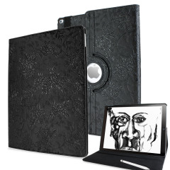 Protect your iPad Pro 12.9 2015 with this elegant black floral pattern case with 360 degree rotating viewing stand for portrait and landscape positions and sleep / wake functionality.