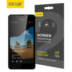 Keep your Microsoft Lumia 550 screen in pristine condition with this Olixar scratch-resistant screen protector 2-in-1 Pack.