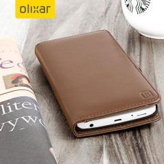 A sophisticated lightweight brown genuine leather case with a magnetic fastener. The Olixar Premium genuine leather wallet case offers perfect protection for your LG V10, as well as featuring slots for your cards, cash and documents.