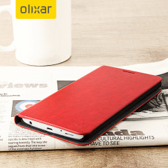 Protect your LG V10 with this durable and stylish black leather-style wallet case by Olixar. What's more, this case can fold into a handy stand to view media and has storage slots for your cards.