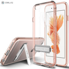 Keep your iPhone 6 Plus protected from damage with the durable and attractive clear and rose gold polycarbonate shell case from Obliq.