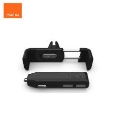 Este pack de Kenu, compuesto por un soporte Kenu Airframe Plus y un cargador de coche con dos puertos USB, le permitirá utilizar su teléfono móvil como navegador GPS o reproductor de música e irá seguro y cargado a su destino.