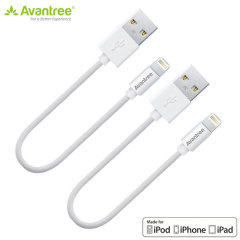 "2 Cables USB Lightning Avantree ""Made For iPhone"" 30 cm - Blancos"