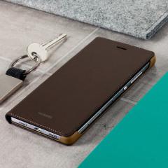Offizielle Huawei P8 Flip Cover Tasche in Braun