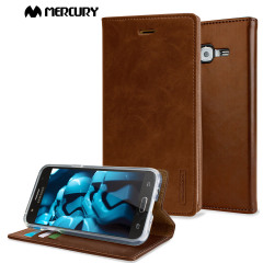 The Mercury Blue Moon Wallet case in brown for the  Samsung Galaxy J5 2015 delivers exceptional style in a slim and sleek package. Crafted from premium materials, the case looks amazing and features slots for your cards and documents.