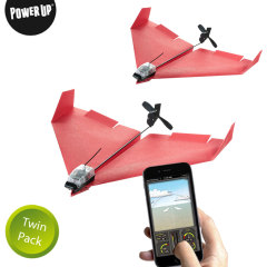 Take to the skies with this ingenious app-controlled paper airplane, complete with rechargeable motor and rudder. Aerobatic greatness and unlimited fun awaits with this twin pack, allowing you to 'dog fight' with friends or even build a twin engine plane.