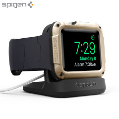 Display your Apple Watch Series 3 / 2 / 1 with this stylish and minimalist stand from Spigen. The magnetic circular cut-out keeps your Apple Watch 3 / 2 / 1 securely in place.