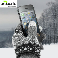 The Proporta Unisex Gloves in light grey and white allow you to operate your touchscreen device while wearing gloves, so you have full use of your smartphone or tablet outside and your hands remain nice and warm.