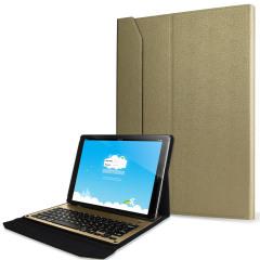 Protégez votre iPad Pro 12.9 2015 avec une couverture en or en aluminium ultra-mince qui contient un clavier QWERTY intégré. Cette coque ultra pratique transforme instantanément votre tablette en tablette ultra bien protégée.
